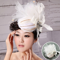 Bridal Large White Gauze Lace Rhinestone feather handmade wedding Flower Hair Facinator ,Bridal HAir ornament