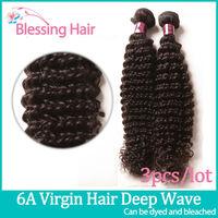 6A Brazilian Curly Virgin Hair,Brazilian Deep Wave Hair 3bundles Lot Unprocessed Human Hair Weave Wavy tangle free no shed