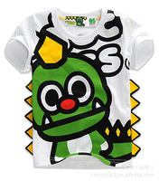Promotion spot ! 2013 summer models short-sleeved green dinosaur cartoon children's clothing casual white T-shirtSpecials
