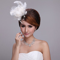 Romantic White Flower Feather Headpiece Bride Fascinator Bridesmaids Fascinator hairbands