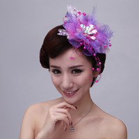 Large Purple  Bridal Rhinestone Simulated-pearl Lace Headpiece,Wedding Party Lady hair  accessories