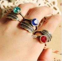 Min order $10 (mix order)Personality leaves gem restoring ancient ways with blue crystal ring