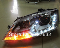 Free Shipping Hot selling New style volkswagen Sagitar  headlights with cool Europe tearful eyes /yellow turning light