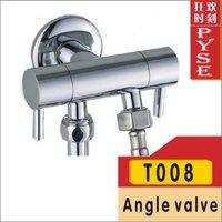 Free shipping T008 brass chrome shattaf valve bibcock,Toilet faucet,angle valve,brass angle valve,Hot