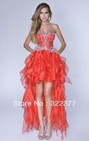 New Style! Asymmetrical Strapless Sweetheart Organza High-low Evening Gown,Prom Gown 2014 with Beads Adorn the Bodice