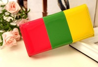 Lady's long vintage clutch wallets multi patchwork PU leather wallet  purse for women card holder candy color free shipping