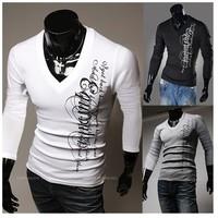 New 2014English letters printing,fashion men slim long sleeve t-shirts