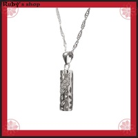 New hot fashion white gold plated 925 Sterling Silver hollowed-out cylinder pendant and 40cm Necklace Women/men's jewelry 501067