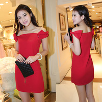 2014 evening dress short design slim slit neckline wedding dress the bride red evening dress one-piece dress