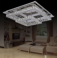 Comtemporary  Luxuriant Crystal LED Ceiling  Lights in Square Design Chandelier with double-deck