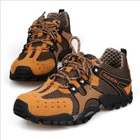 Hot new brand waterproof leather men's hiking shoes, heavy-bottomed high-top hiking boots warm shoes wholesale free shipping