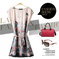 2014 Spring Fashion European And American Style Print Sleeveless Belt Vest  Dress Female