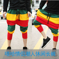 New Jamaican Reggae Harem Hip Hop Dance Pants Sweatpants striped Costumes Green Yellow Red Panelled female sports trousers