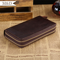 M&D New Arrivals Men Top Grade Wallet 2 Zippers Multi-Dard-Rooms Business Luxury Wallet Genuine Leather Money Bag