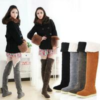 2014New Women Autumn Winter Shoes Overknee High Martin Snow Boots Thick Platform
