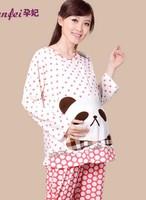 100% cotton Bear Face pajamas pregnant Lounge tracksuit