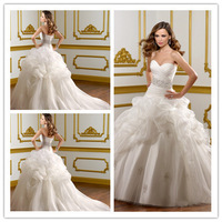 2014 Ball Gown Sweetheart Sleeveless Court Train White Pleated Backless Beaded Elegant Wedding Dresses Bridal Gown