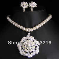 High Quality Austrian Clear Crystal Silver Plated Pearl Wedding Bridal Jewelry Set