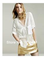 2014 Spring New All-match Ladies Loose Long Sleeve Pocket Chiffon Shirt(145g),Fashion sexy women's blouse(S/M/L),free shipping