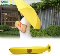 2014 New Personalized cartoon Banana Umbrella Three Fold Portable pencil Umbrella Folding Umbrella Sun Protection 2 Color UM14