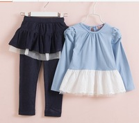 2014 New Spring Autumn  Princess Puff Girls T-shirt + lace culottes suit TZ76/KZ101