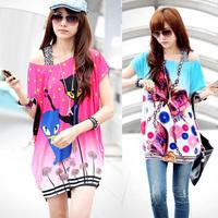 (Storage Clearance Sale )2014 New European Plus Long Women Clothing T-shirt Fat Korean Base Shirt Upper Garment Summer/Autumn