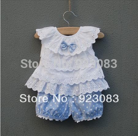 Summer 2015 baby's clothing children outerwear lace flower bebe casual infantil 2 pcs clothes sets 3-24month wholesaler 4set/lot(China (Mainland))