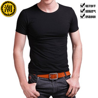 Male t-shirt black short-sleeve o-neck short-sleeve tight-fitting basic t shirt 100% cotton t shirts summer