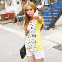 2014 women's summer girls summer wind casual o-neck short-sleeve chiffon T-shirt