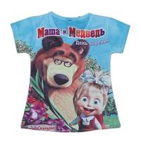 wholesales 2014 new style summer kids T-shirt in blue girls tee shirts bear with eyeglass girls t-shirts(2T-6T) 5pcs/lot