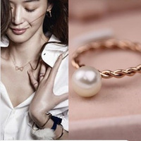 Min order $15(mix order)Free shipping 18K Gold copper alloy Simplic design Simulated Pearl figure rings women costume jewelry