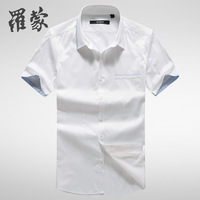 Romon short-sleeve shirt slim male business casual all-match thin 2c33385