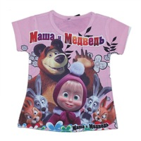 wholesales 2014 new style summer kids T-shirt in pink girls tee shirts bear bunny full printing girls t-shirts(2T-6T) 5pcs/lot