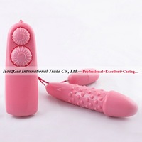 Wholesale 6 pcs/lot wired dual bump vibrating egg long+short bullet vibrator sex toys products TD-036