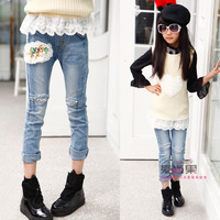 jeans for girls Large female child 2014 spring pearl lace patchwork jeans pencil pants long trousers