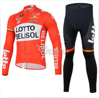 2014 new LOTTO long sleeve orang cycling jersey+black pants bicycle jacket running tights men  N1025
