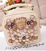 2013 bag hot-selling rivet diamond button leopard head button bag fashion personality double-shoulder women's handbag