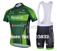 2014 New Pro Active Jet Europcar Team Green Cycling Bike Sets Team Cycling +Black Short Sleeves Jersey+Bib Shorts