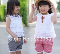 new 2014 summer girls clothing sets children outerwear clothes sets 2 pcs sets lace t shirts+ girls shorts wholesaler 3sets/lot