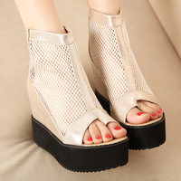 Sexy Cut-out Wedge Pumps Fashion Women Sandals Deep Toe Ankle Style