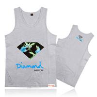 Free shipping Diamond vest Brand new arrival men's tank tops wholesale fashion hip hop diamond tank top for men