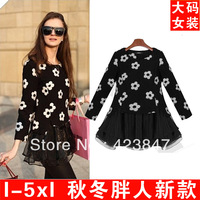 FFree shipping in spring 2014 new dress fashion sun flower false two sets of knitted dress 5XL add fertilizer retro slim dress