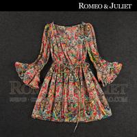 High quality women's 2014 fashion autumn new arrival vintage jacquard flare sleeve print slim expansion bottom long-sleeve dress