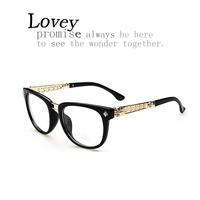 Lovey new fashion Gothic punk style retro hollow plain mirror woman gold unisex optical eyeglasses frame metal quality wide leg