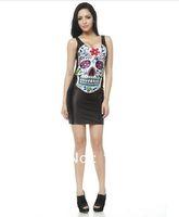 2014 Summer New  Women Sexy Dress Girls Bodycon Sleeveless Dress Skull Long Vest  Tops  Mini Clubwear Dress Wholesale Retail