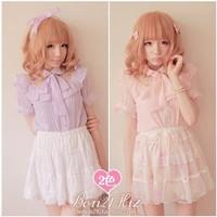 Princess sweet lolita blouse Bobon21 falbala Lace stitching chiffon shirt with bow  tie cute pink or light purple violet T0860