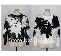 2014women full lace floral flowers pollover batwing sleeve Tee,women lace see through long sleevd T-shirt o-neck tees