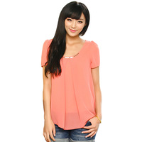 Womens Short-sleeve Women's Slim Cool and Refreshing Chiffon Lady's Top Shirt W012
