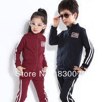 2014 Kids fashion Spring & Autumn Sports clothing set(coat+pants) boy girl high quality 2pcs suit children wear Free Shipping