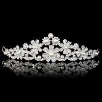 Clear Crystal Flower Imitate Pearl Wedding Bridal Crown Tiara Hairwear Accessary